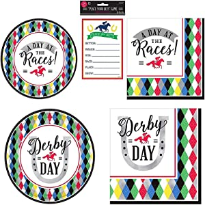 Amscan Derby Day Horse Racing Party Bundle | Luncheon & Beverage Napkins, Dinner & Dessert Plates, Betting Sheets | Great for Sports Themed Party, Horse Race & Derby Event