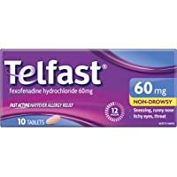 Telfast Hayfever Allergy Relief 60 mg - Non-drowsy - Sneezing - Runny nose - Itchy eyes and itchy throat, 10 Tablets 10…