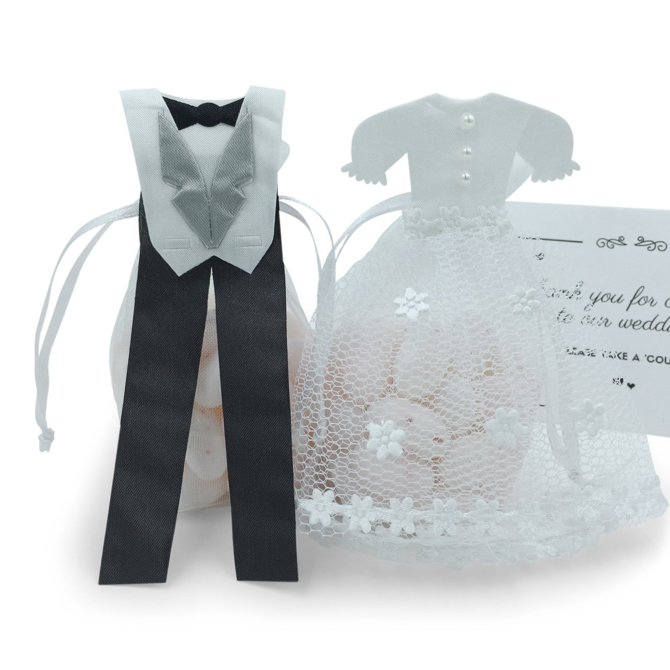 Amazon.com: Pardao Bride & Groom Wedding Favor Bags - Thank You ...