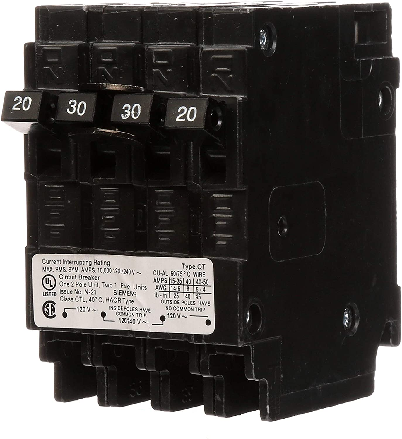 SIEMENS Q22030CT 30 Double Two 20-Amp Single Pole Circuit Breaker, As shown in the image