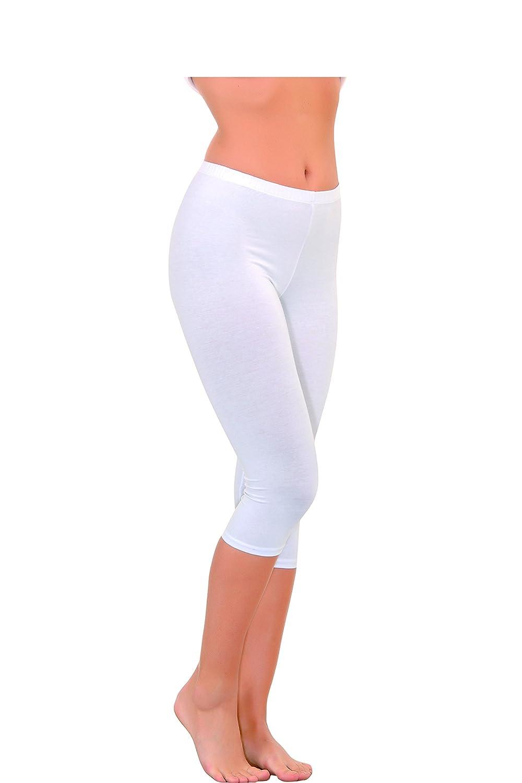 N- 232 Radlerhose Damen Capri Leggings 90/% Baumwolle 3//4