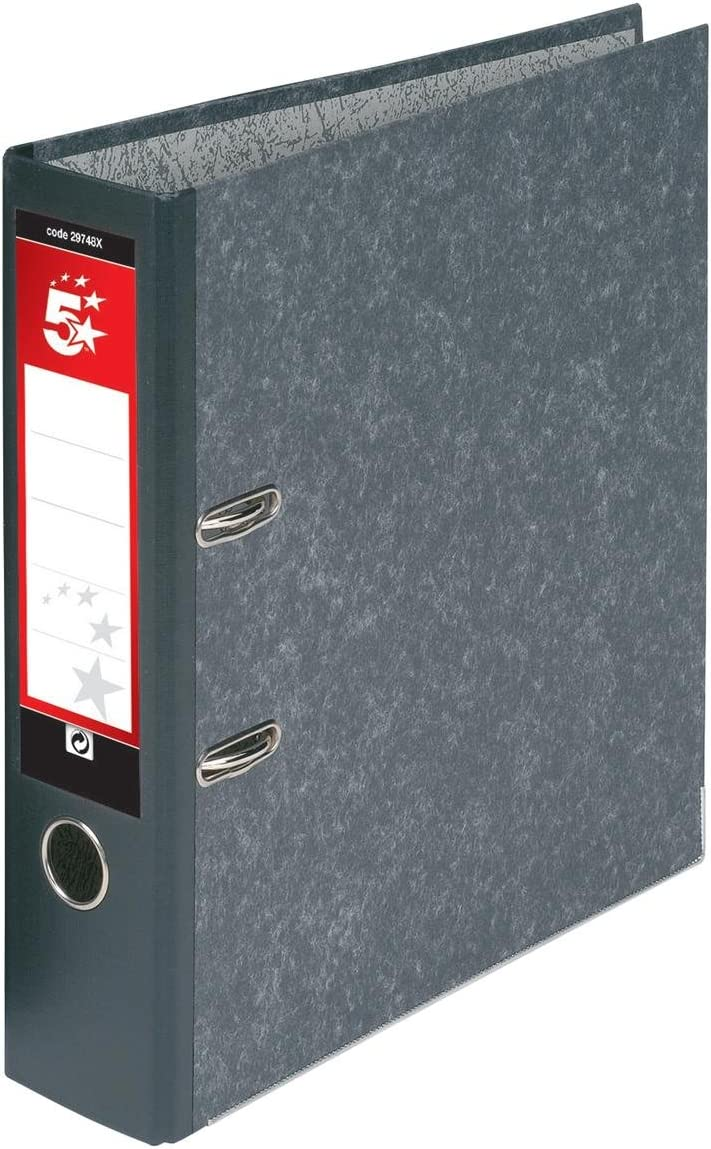 5 Star Lever Arch File 70mm Foolscap Cloudy Grey Pack of 10