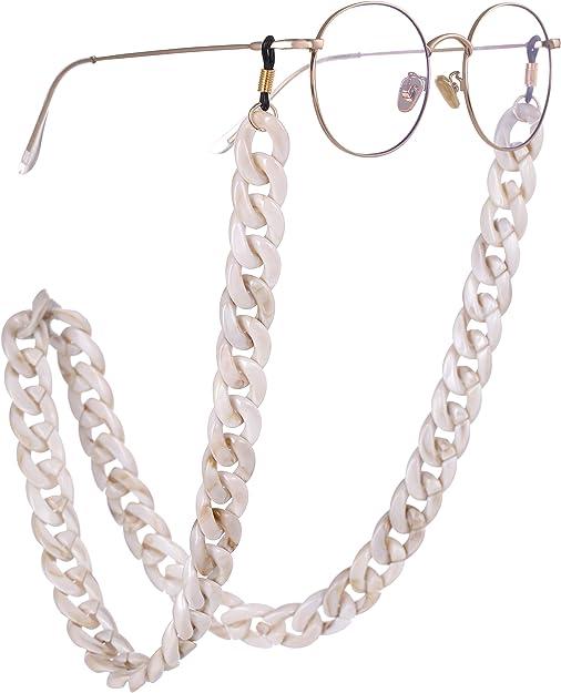EUEAVAN Fashion Twist Link Acrylic Eyeglass Chain Marble Texture Sunglasses Holder Eyewear Retainer Strap for Women