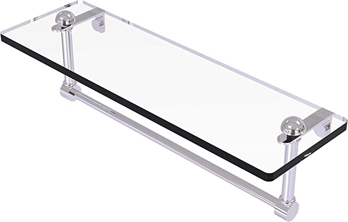 Allied Brass Rc 1 16tb 16 Inch Vanity Integrated Towel Bar Glass Shelf Polished Chrome Mounted Bathroom Shelves Amazon Com