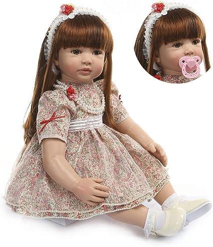 Long Hair Girls Silicone Reborn Baby Dolls Newborn Toddler Realistic XMAS 60cm