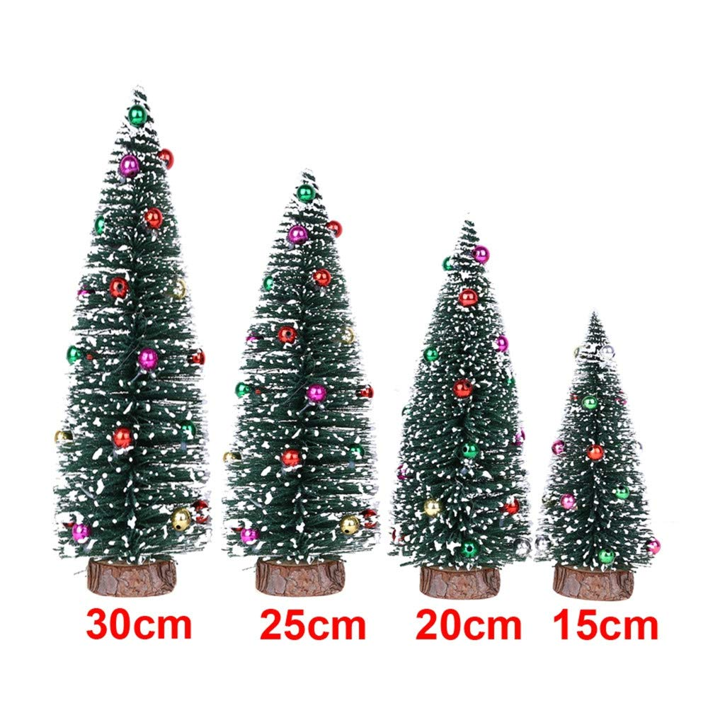 5.9'' Green Pine Tree with Wooden Base Pre-Lit Christmas Tree Artificial Tabletop Christmas Tree with Bauble Festival Miniature Tree for Christmas Decor (D) by DaoAG-Christmas (Image #5)