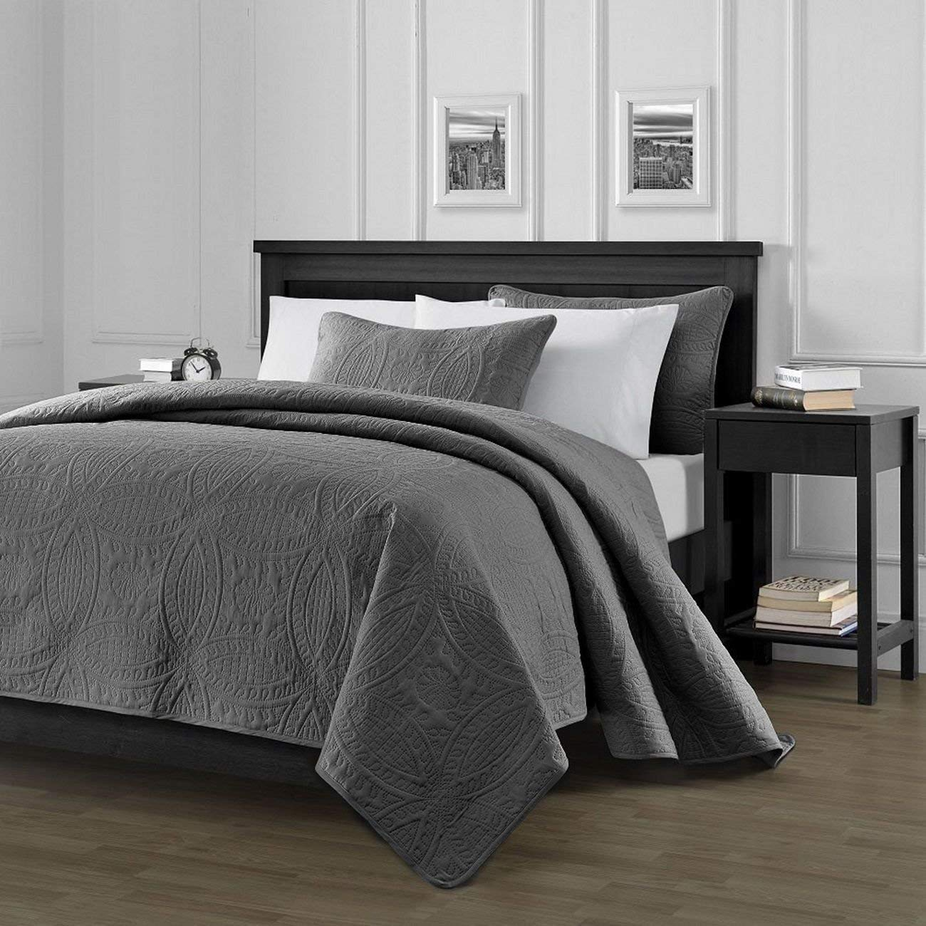 Chezmoi Collection Austin 3-Piece Oversized Bedspread Coverlet Set (King, Charcoal