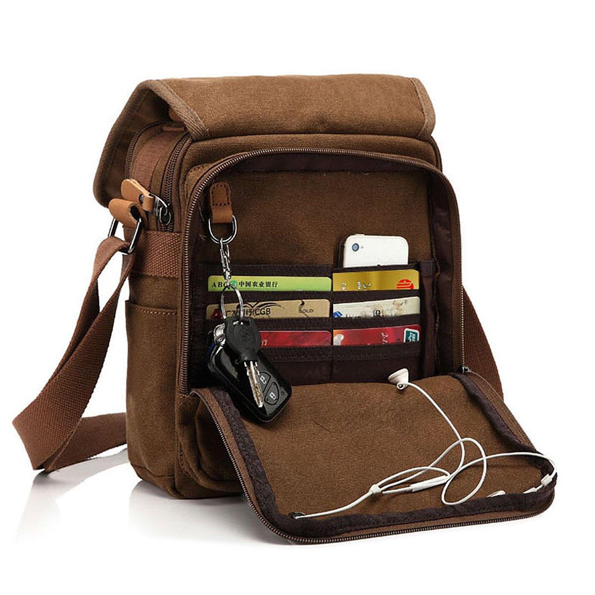 CHEREEKI Canvas Bag, Shoulder Bag Messenger Bag with Multiple Pockets (Hold 10 inch Tablet, iPad, Kindle) GSTEK