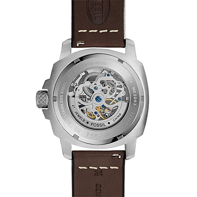 Amazon.com: Fossil Mens ME3083 Modern Machine Automatic Leather Watch - Brown: Fossil: Watches