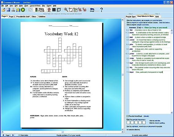 Amazon.com: Crossword Weaver, Crossword Puzzle Maker Software for ...