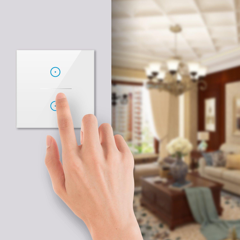 3 Gang Smart Alexa Lichtschalter,MEAMOR WiFi Funk Wasserdicht Touch Wandschalter Kein Hub erforderlich,Kompatibel mit Alexa//Google Assistant//Smartphone