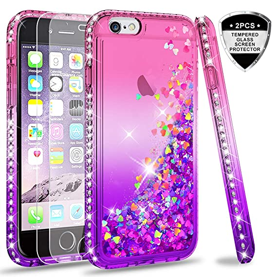 LeYi Hülle iPhone 6 / iPhone 6S Glitzer Handyhülle mit Panzerglas Schutzfolie(2 Stück),Cover Diamond Bumper Schutzhülle für C