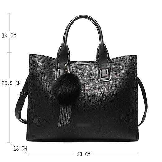 fa8558a0b43 Amazon.com: Chibi-store Women Leather Handbags Casual Brown Tote bags  Crossbody Bag TOP-handle bag,Black: Clothing
