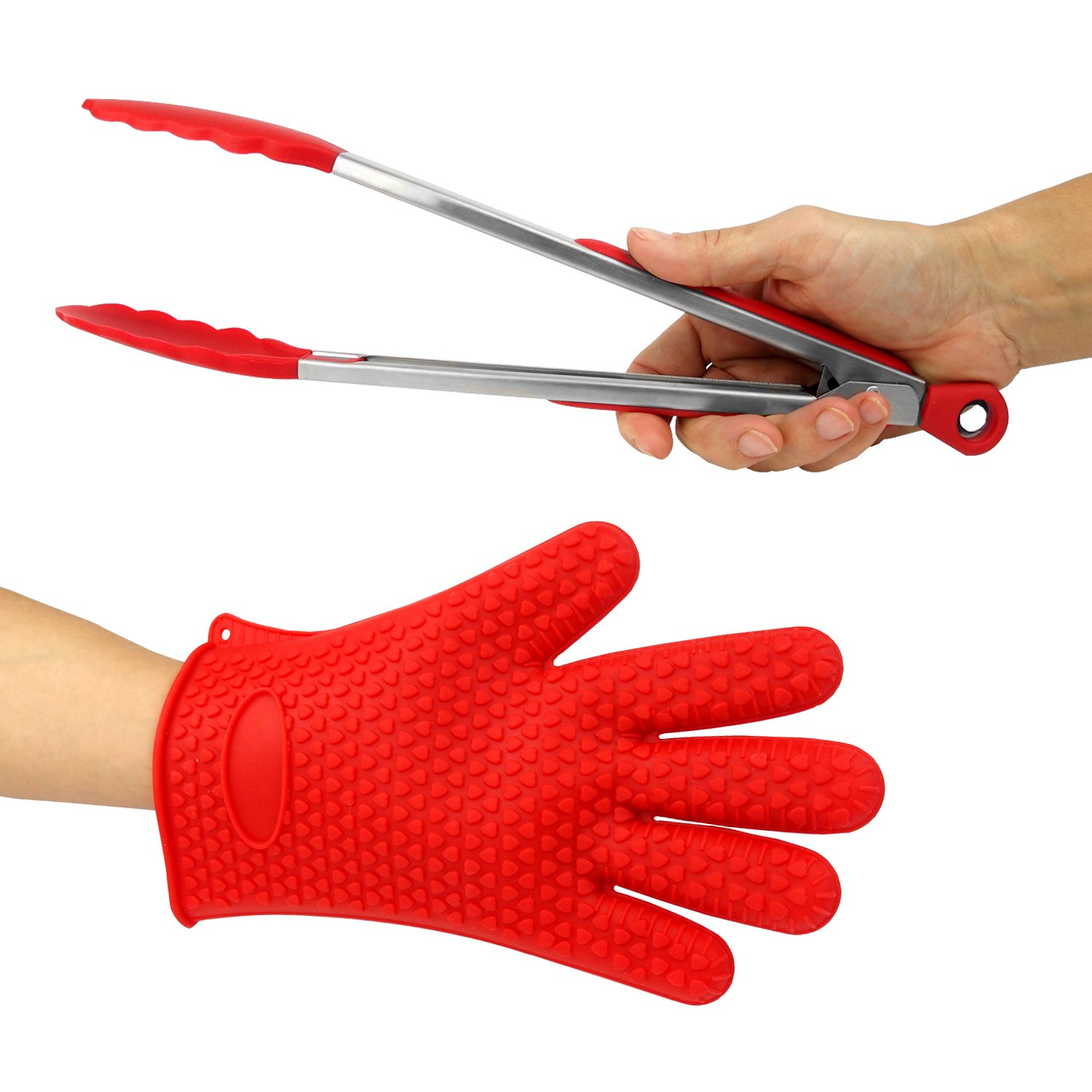 Just-f-Care Heat Resistant Grilling BBQ Useful Set, Silicone Glove for Cooking, Baking, Smoking & Potholder, Unisex Size & Stainless Steel Kitchen Food 12'' Tongs, Best Gift, Red, 2 Piece
