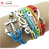 Doinshop New Useful Cute Nice Colorful Infinity Friendship Love Anchor Leather Charm Bracelet DIY