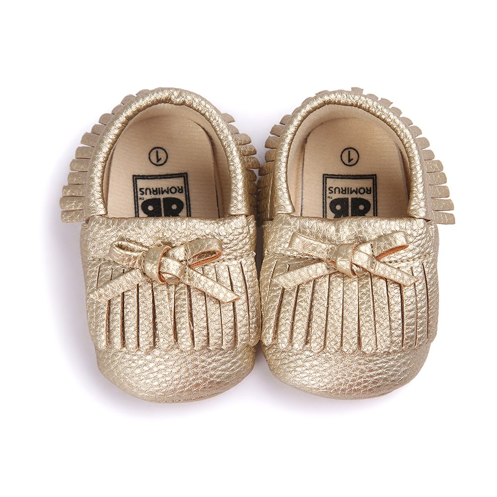 Itaar Baby Girl Crib Shoes Tassel Bowknot PU Moccasins for Infant Toddler Soft Sole