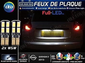 Pack Bombillas LED iluminación placa para Nissan Qashqai 2: Amazon.es: Coche y moto