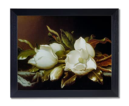 Amazon solid wood black framed white magnolia flower floral solid wood black framed white magnolia flower floral contemporary pictures art print mightylinksfo