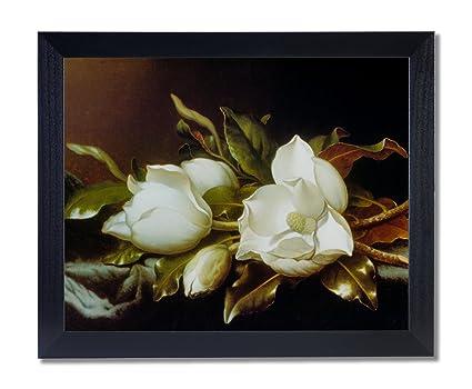 Amazon Solid Wood Black Framed White Magnolia Flower Floral