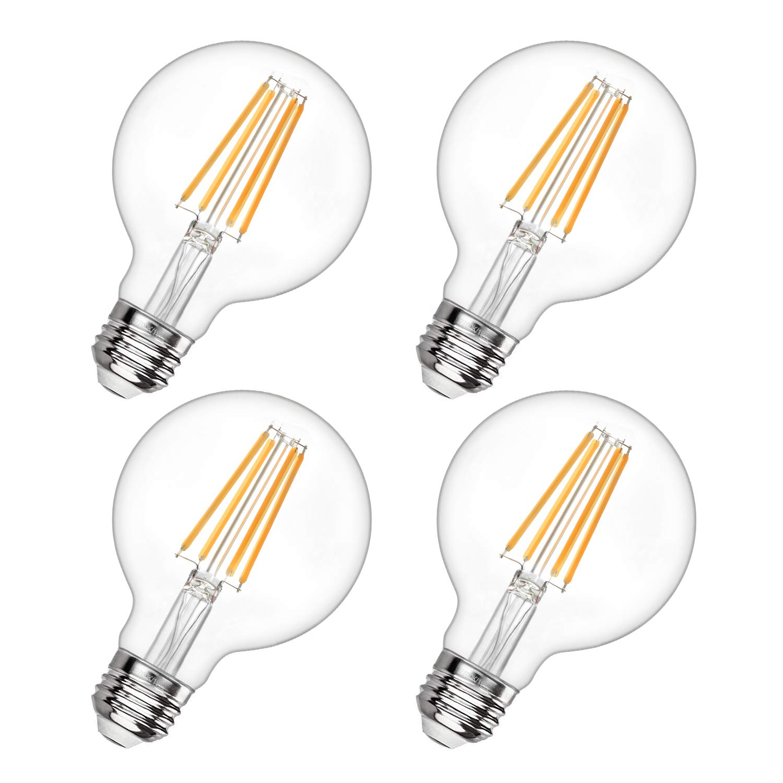 G25 Led Edison Bulb Dimmable LED Globe Light Bulb 60W Equivalent 2700K Soft White 600LM 6W Led Filament Bulb E26 Standard Base Decorative Vanity Bulbs for Makeup Mirror, Bathroom, 4 Pack, by Boncoo