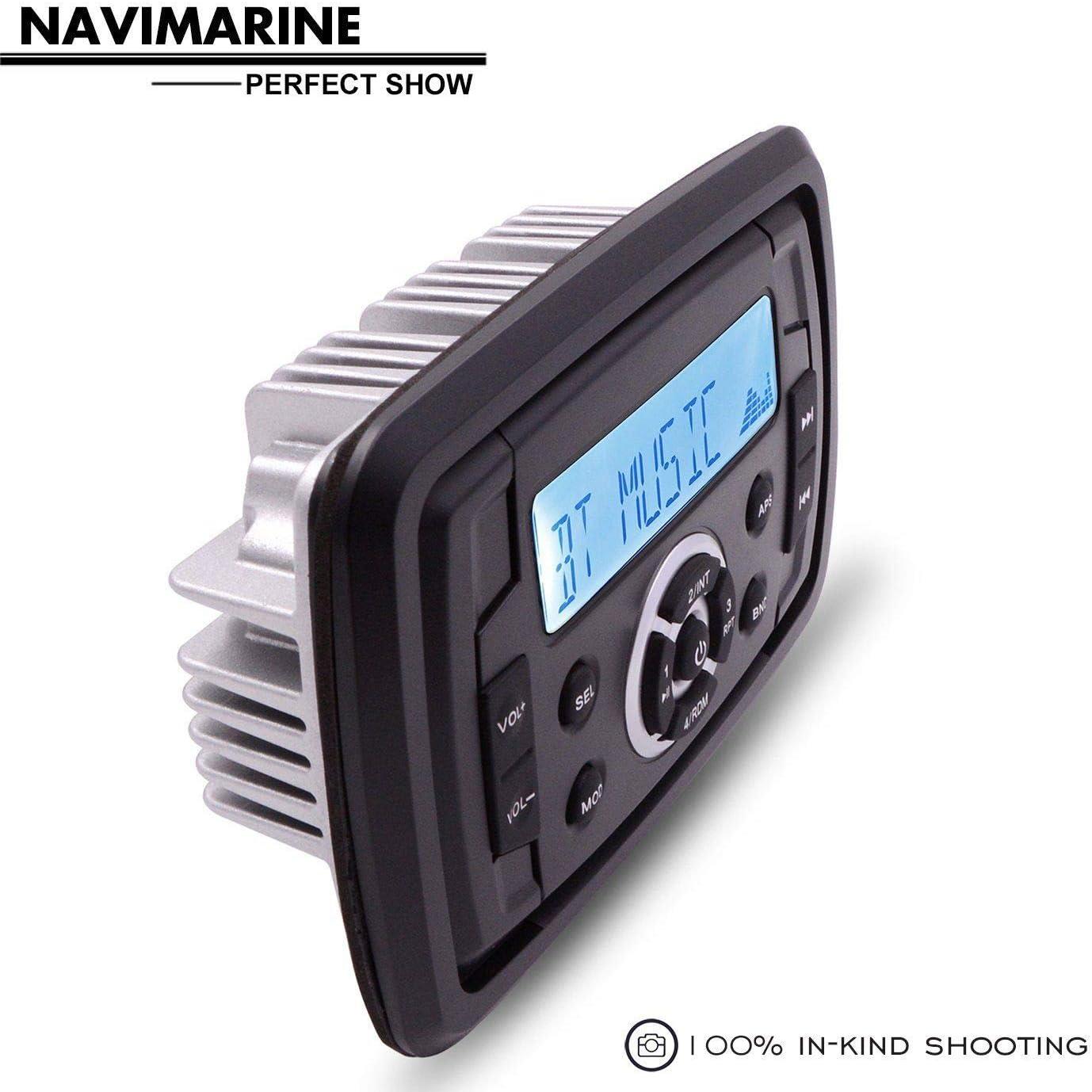 FlashStarhzm Marine Radio Bluetooth Stereo Audio System Square Receiver Waterproof for CAR Boat ATV