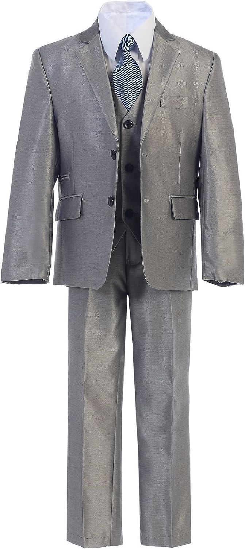 Boys Toddler Kid Teen 5pc Shiny Formal BURGUNDY Dress Suit w// Vest Size 2-20