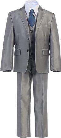 Boys Toddler Kid Teen 5-PC Wedding Formal Party Silver Suit Tuxedo Vest sz 2-20