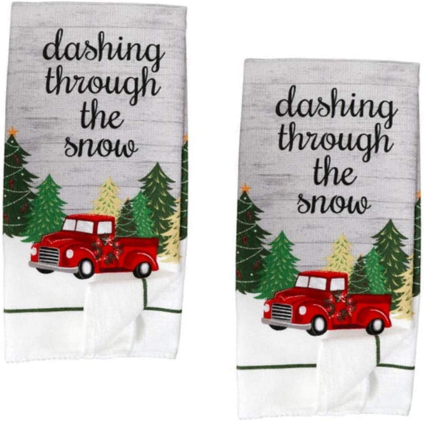 Kitchen Towels - Holiday Decorations - Christmas Tree Linen Set - Red Truck Dashing Through The Snow - Dish Towels - Holiday Home Decor - Bathroom Hand Towels