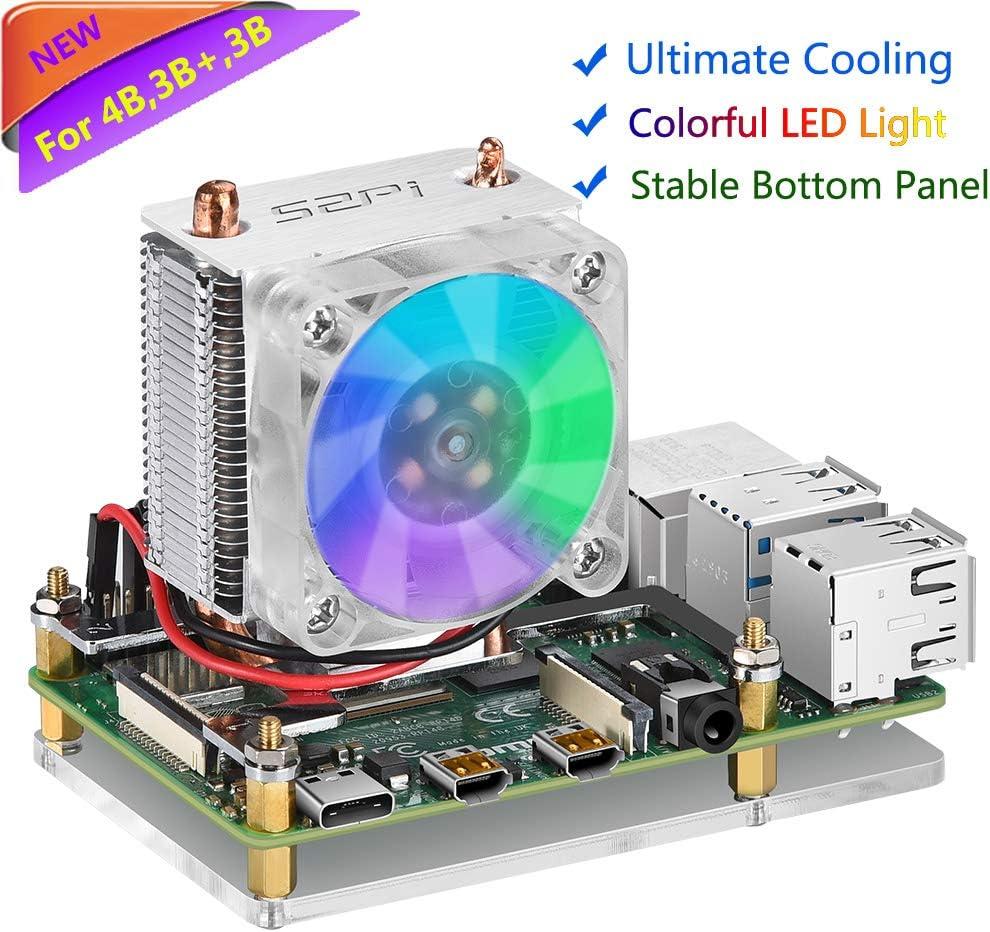 Raspberry Pi Fan, iUniker RGB Cooling Fan Raspberry Pi Ice Tower Cooler, Raspberry Pi Cooling Fan, Raspberry Pi Heatsink Fan for Raspberry Pi 4b/ 3b+/ 3b