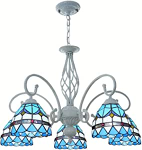 Tiffany Style Blue Mediterranean Chandelier Multi-Head Retro Stained Glass Hanging Pendant Lamp for Living Room Bedroom Dining Room Decoration Lighting Fixture, 110-240V,5 Head