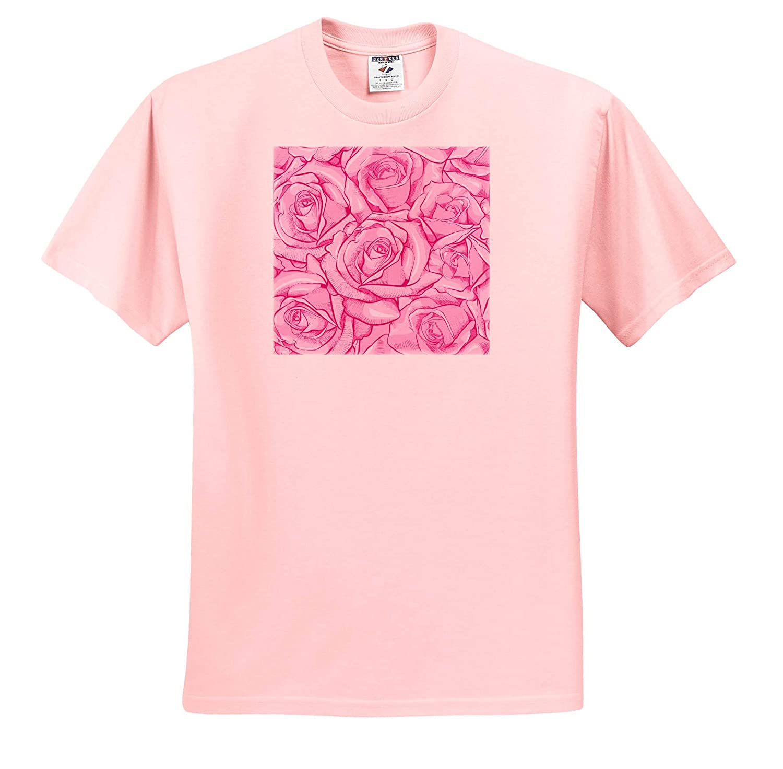 ts/_317655 3dRose Anne Marie Baugh Patterns Pretty Pink Large Rose Pattern Adult T-Shirt XL