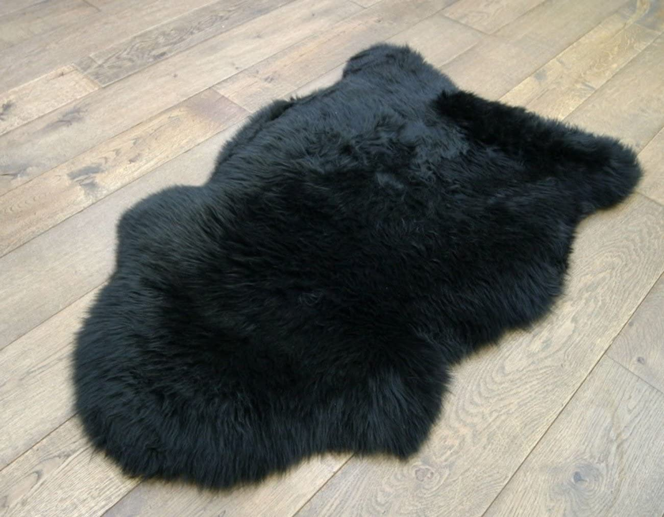 Kimiro Genuine Sheepskin Rug One Pelt Black Fur 2 X 3