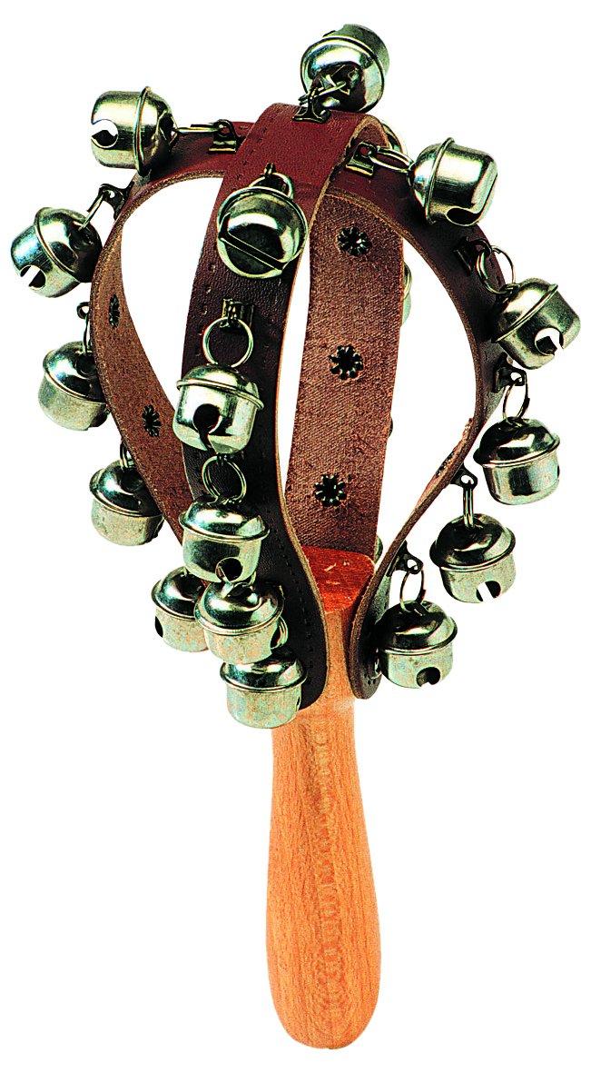Gitre 727/B 260 x 93 mm Wood Handle Bell Maraca with 20 Bells