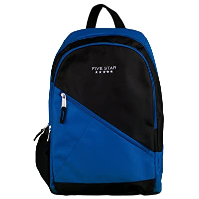 Five Star School Backpack, Angle Zip, Holds 14 Inch Laptop, Blue (72382) 85%OFF