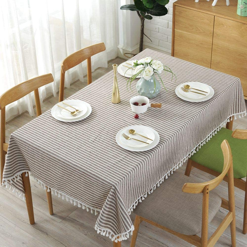 Lahome Stripe Tassel Tablecloth Rectangle - 55 x 70, Beige Cotton Linen Table Cover Kitchen Dining Room Restaurant Party Decoration