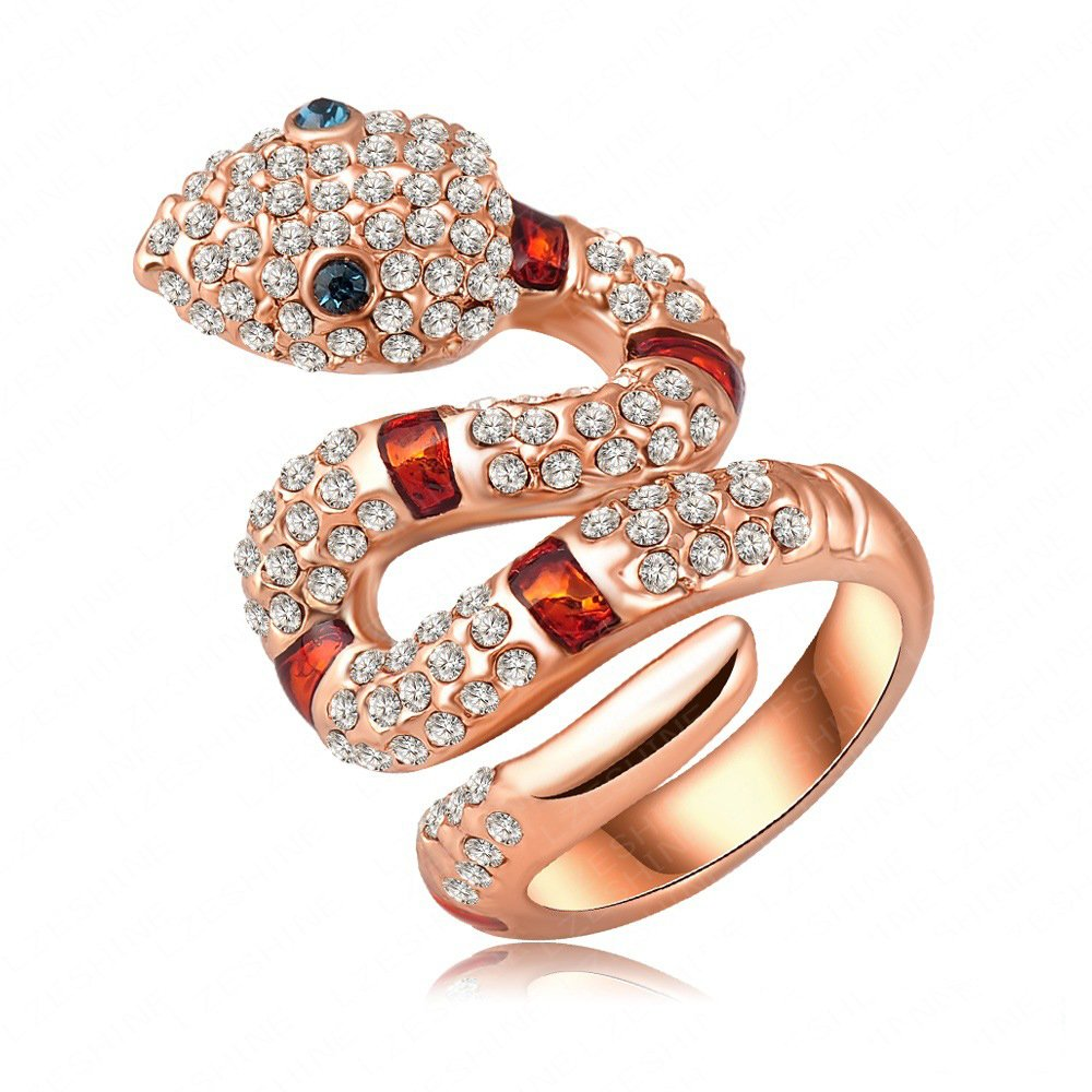 LuckyWeng Snake Animal CZ Stone Crystal Cute Cool Wedding Rings Teens Girls Kids Jewelry 18K Rose Gold