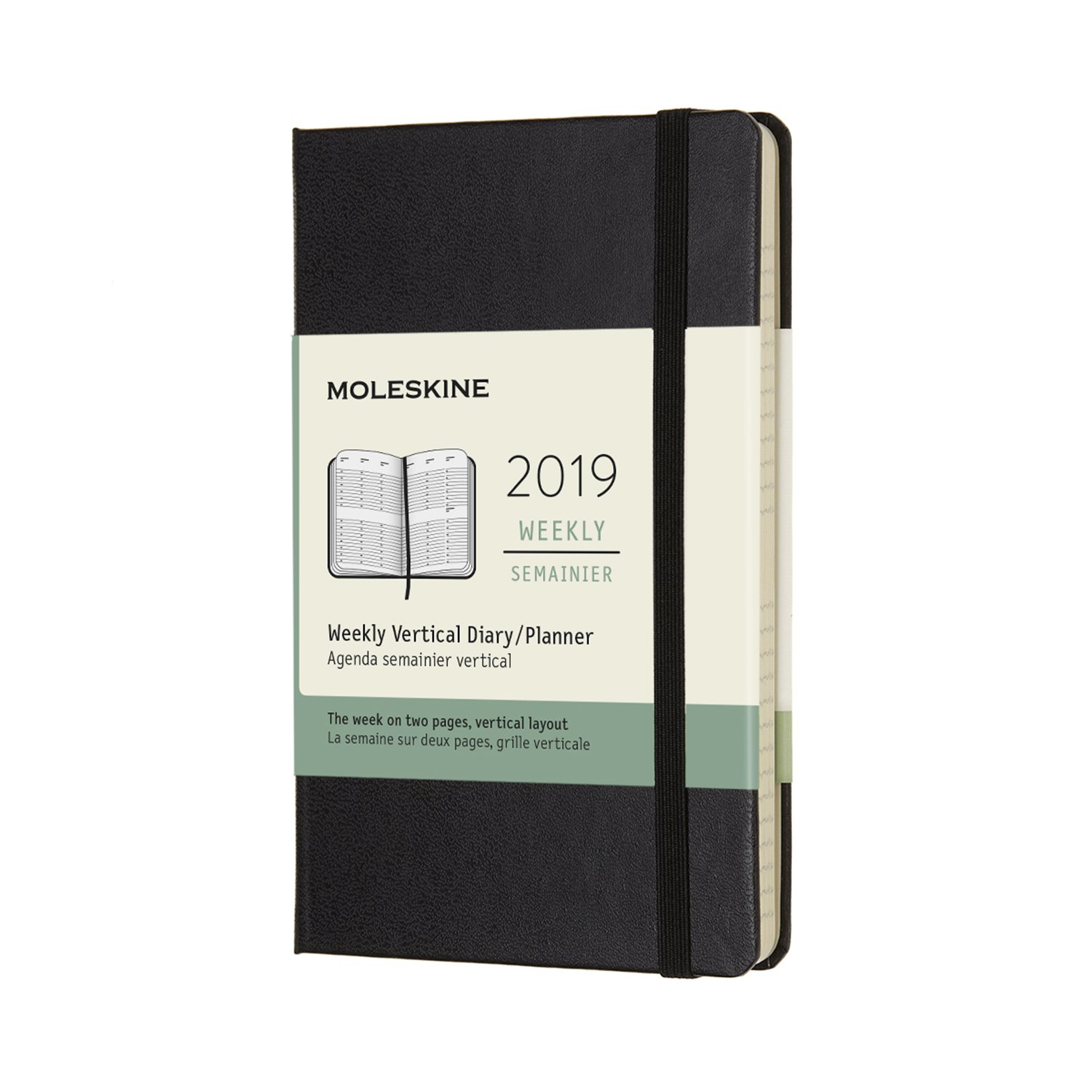 Moleskine Classic Hard Cover 2019 12 Month Weekly Vertical Planner, Pocket Size (3.5 x 5.5) Black - Weekly Planner for Students & Professionals, for Organizing and Planning