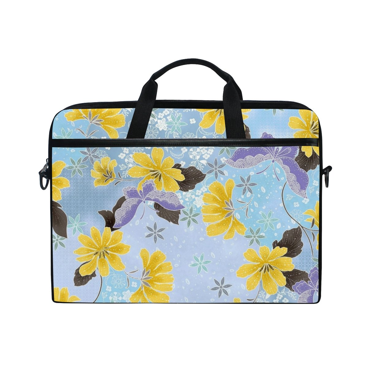 974fe5e8cb19 JIUMEI Computer Bag Briefcase for 15 to 15.4 Inch Laptop Yellow Flower Blue  Butterfly Fine Canvas Lightweight Padded Shoulder Laptop Bags Case Notebook  Bag