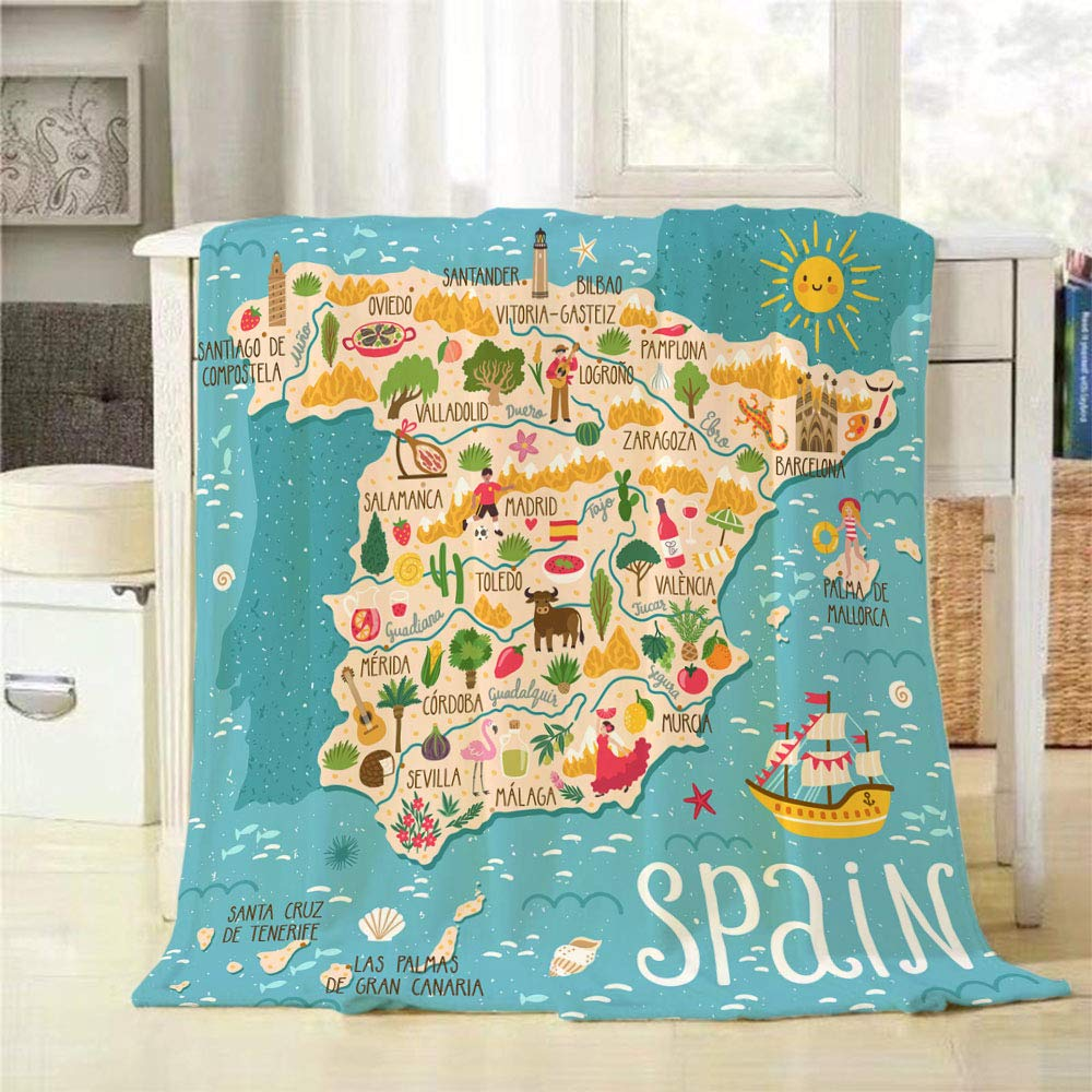 Amazon.com: Mugod Spanish Map Throw Blanket Sailboat ...