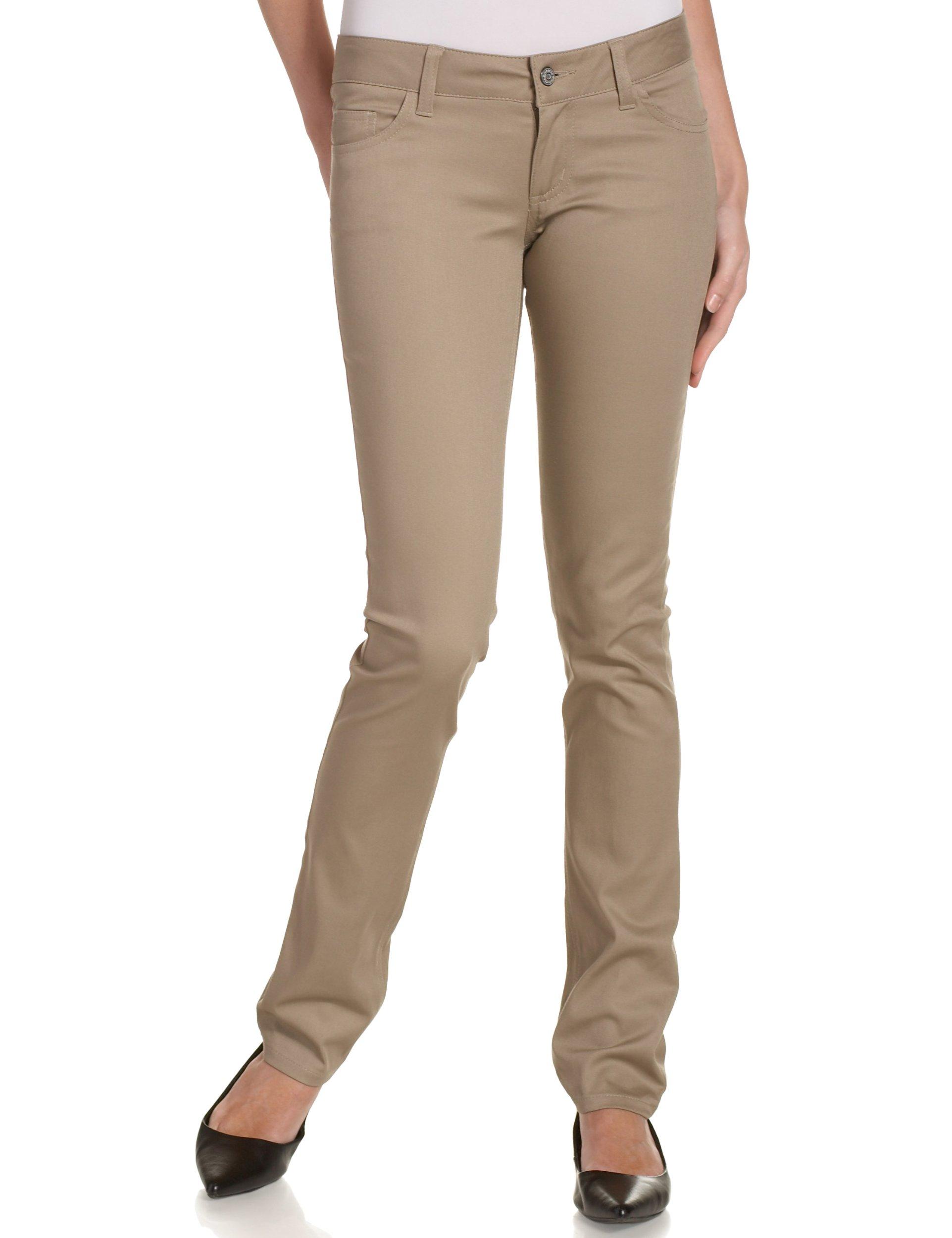 Dickies Girl Junior's Classic 5 Pocket Skinny Pant, Khaki, 7