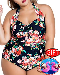 eb7023fee7 Womens Plus Size Swimsuits One Piece Tummy Control Monokini Halter Floral  Printed Vintage Bathing Suit