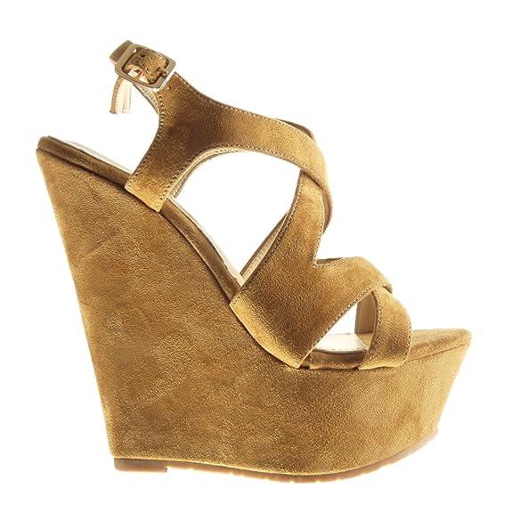 Angkorly Damen Schuhe Sandalen Mule - Plateauschuhe - String Tanga  Keilabsatz High Heel 15 cm: Amazon.de: Schuhe & Handtaschen