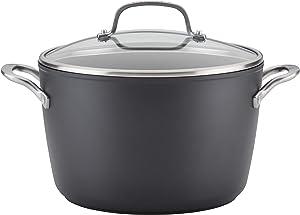 KitchenAid Hard Anodized Induction Nonstick Stock Pot/Stockpot with Lid, 8 Quart, Matte Black