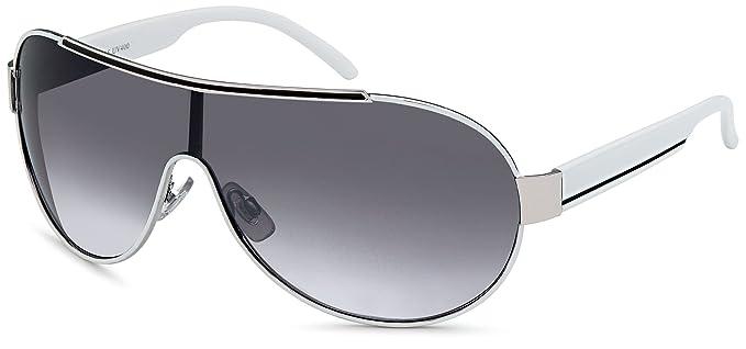 259e26f02a48d5 Feinzwirn rahmenlose Sonnenbrille mit Monoscheibe + Brillenbeutel - Sonnenbrillen  Damen unisex
