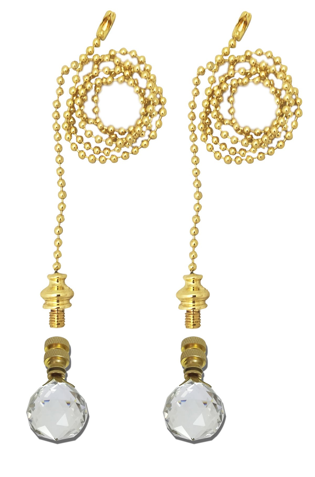 Royal Designs Fan Pull Chain with Large Faceted Diamond Cut Crystal Finial – Polished Brass – Set of 2