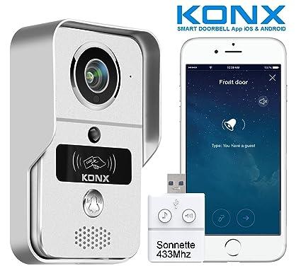 KONX® kw02C - Interfono de portero con vídeo & campanilla (720P IP + WiFi + relé de puerta + placa RFID + Full Duplex): Amazon.es: Bricolaje y herramientas