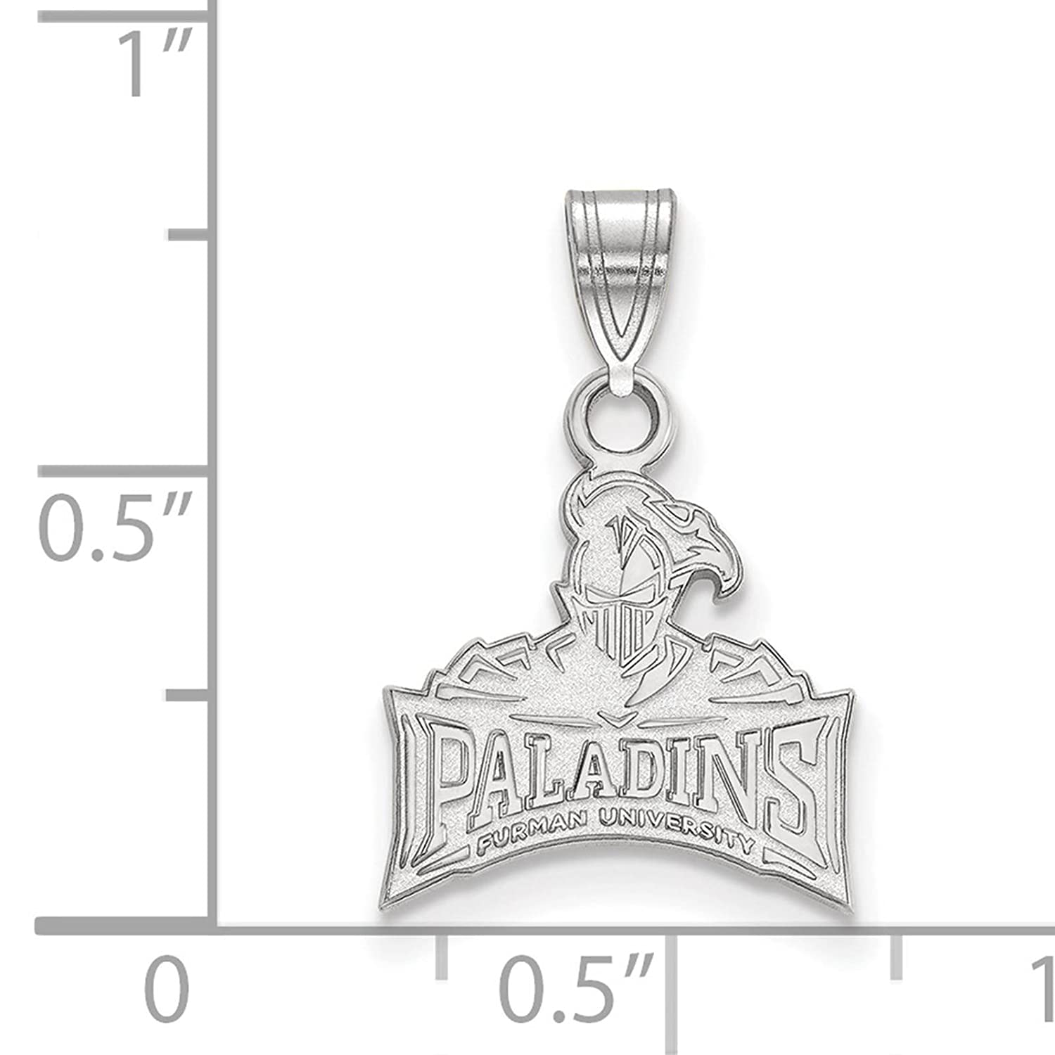 925 Sterling Silver Rhodium-plated Laser-cut Furman University Small Pendant