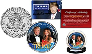 2016 Donald Trump & Melania Trump - President & First Lady JFK - John. F. Kennedy Half Dollar! W/H Display Stand & COA!