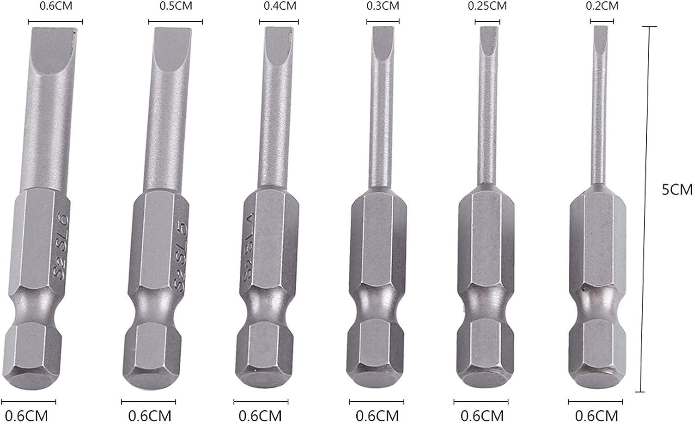 6St LAQI S2 Alloy Magnetic 0,25Sechskantschaft Schlitzschraubendreher-Bits Flachkopf Schlitzschraubendreher-Bits Set 50mm 2,0-6,0mm