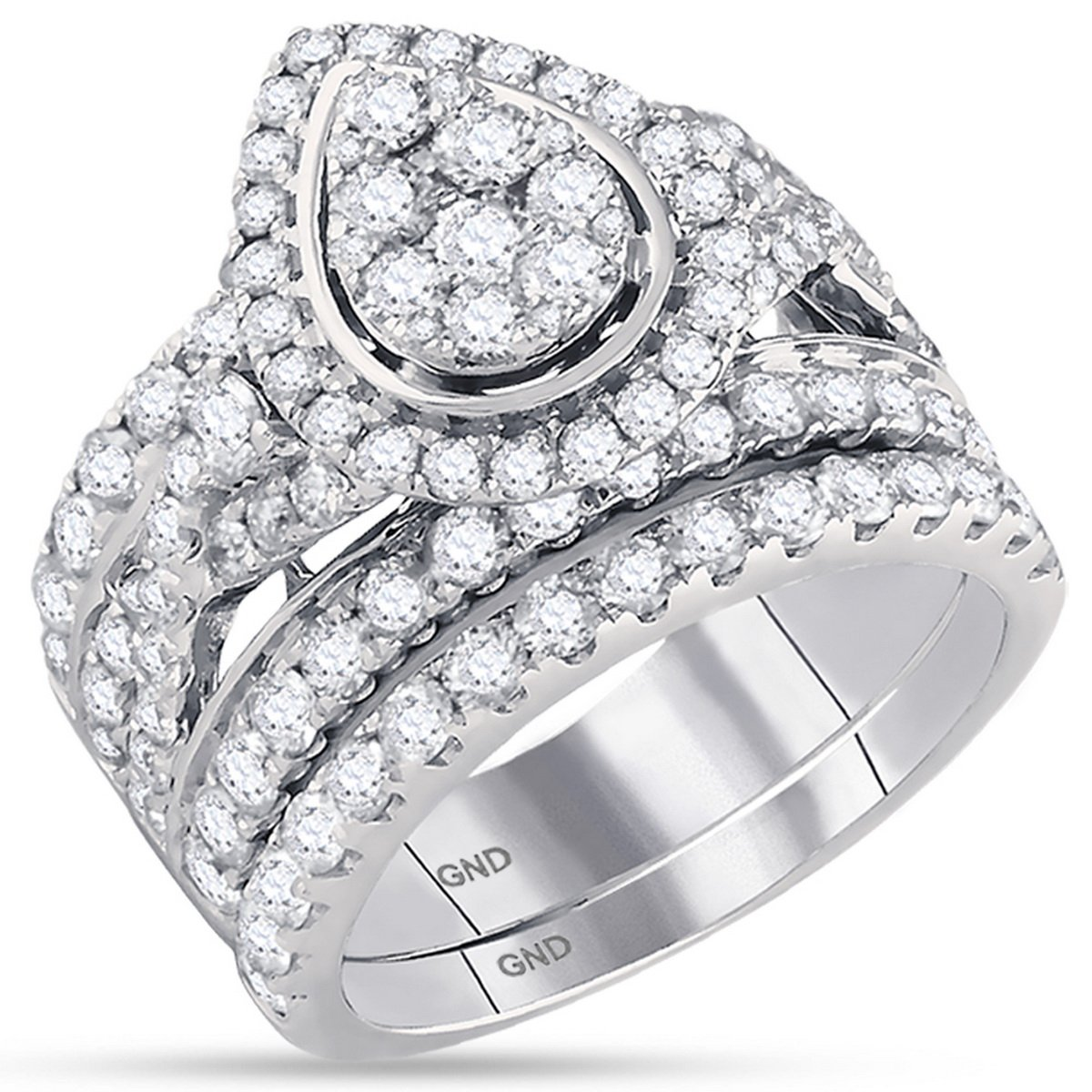 14K White Gold Bridal Pear Tear Infinity Love Knot Diamond Engagement Ring Set 2 7/8 CT (I1-I2 clarity; G-H color)